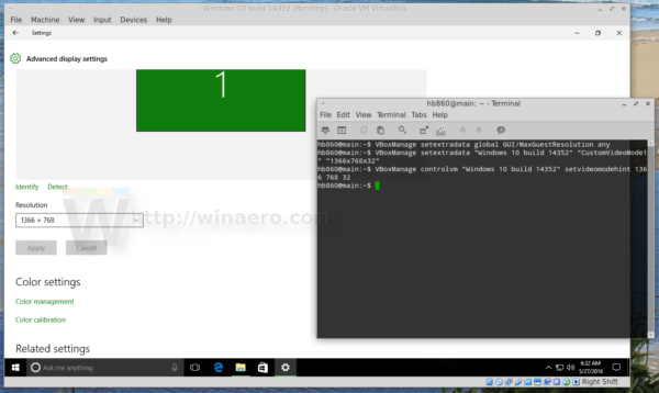 virtualbox set exact display resolution