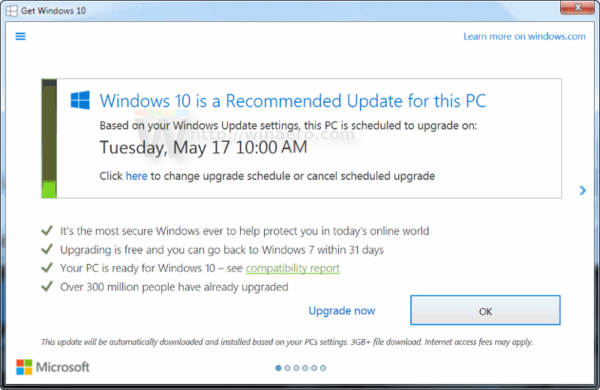 windows 10 upgrade scheduled