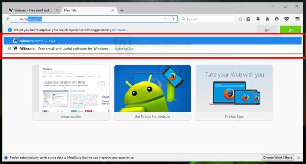 Firefox 48 address bar suggestion