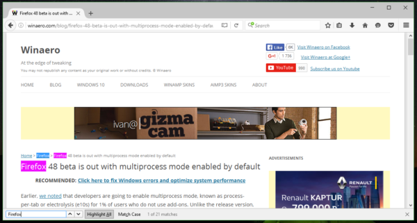 Firefox 50 new search UI non modal