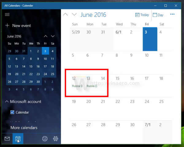 Make Windows 10 Calendar show national holidays 2
