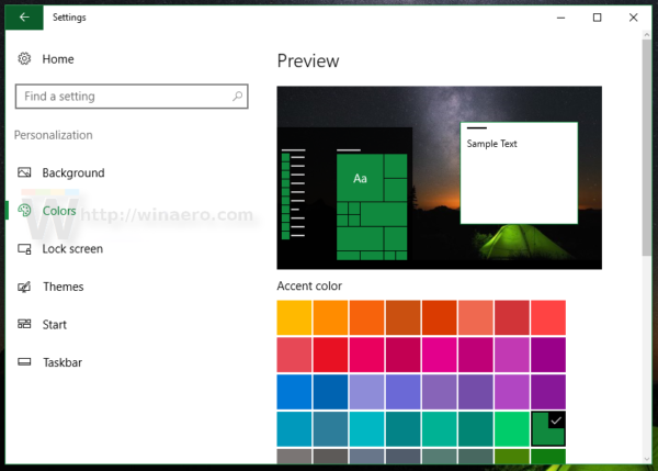Settings Personalization colors