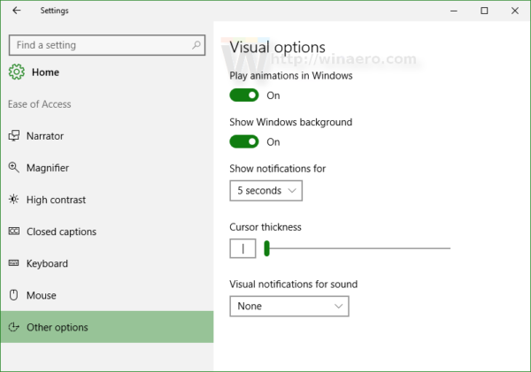 Windows 10 Ease of access other options