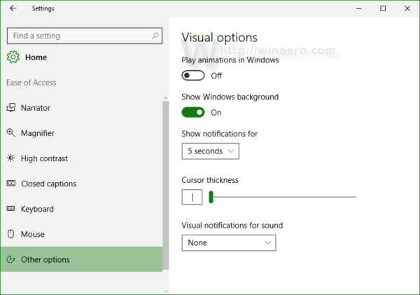 Windows 10 Ease of access other options disable