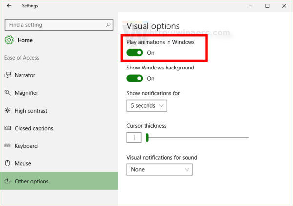 Windows 10 Ease of access other options red