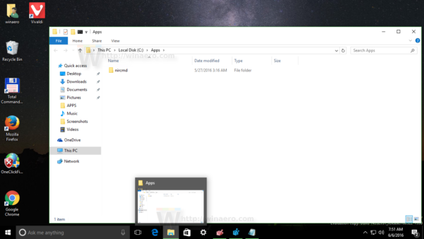 Windows 10 File Explorer open with custom folder 1