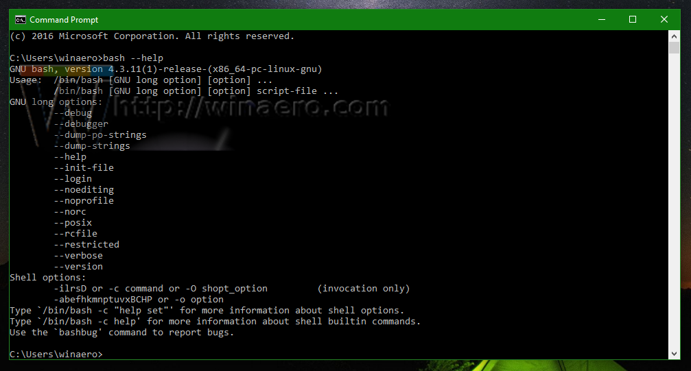 Run Linux commands from cmd exe prompt in Windows 10