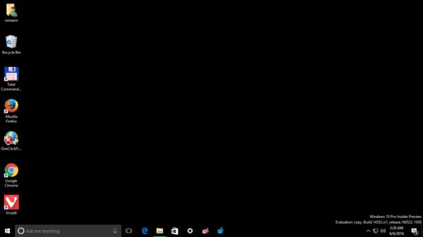 Windows 10 black desktop