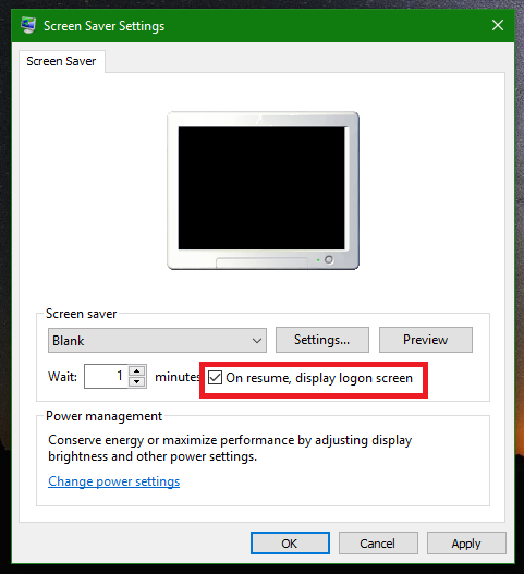 lock windows 10 after a certain period of time automatically