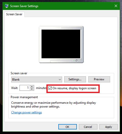 On resume display logon screen gpo
