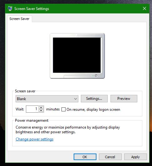 Windows 10 blank screensaver
