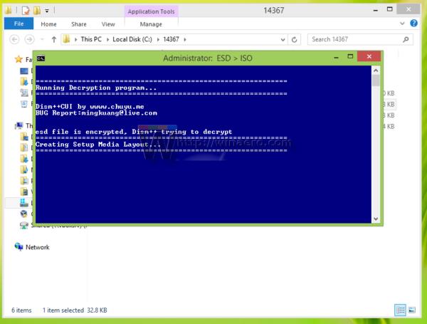 Windows 10 build 14367 decrypter started 2