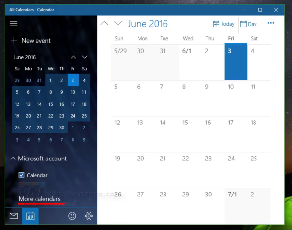 Windows 10 click more calendars