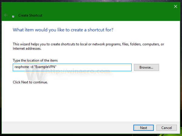 Windows 10 connect to VPN shortcut