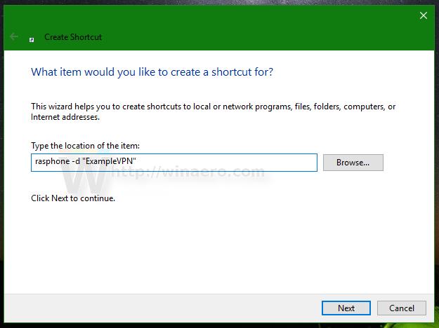 Vpn desktop shortcut win 10
