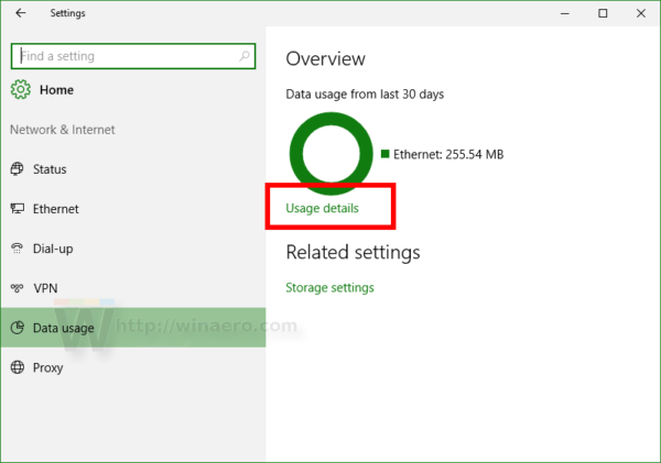 Windows 10 data usage in red