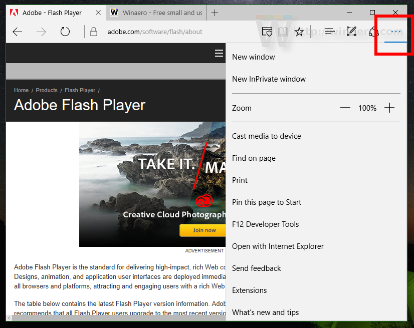 How to disable Adobe Flash in Edge
