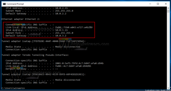 how to find ip address windows 10 using command prompt