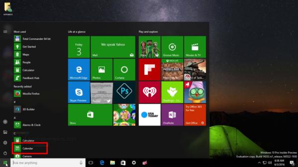 Windows 10 launch Calendar app