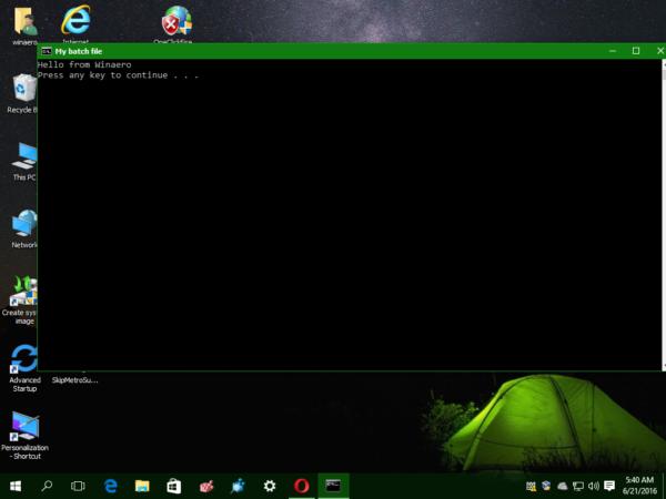 Windows 10 pinned batch file to start 2