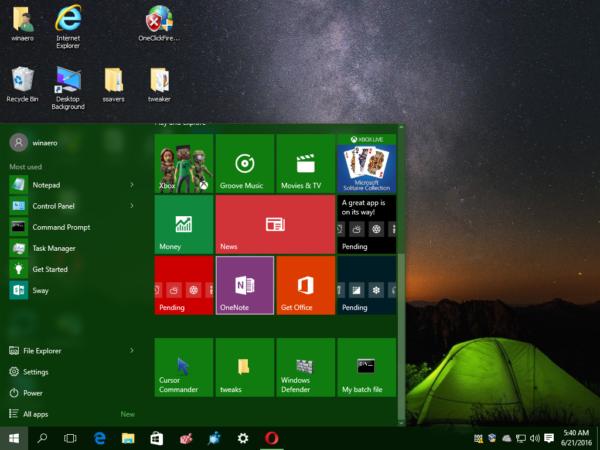Windows 10 pinned batch file to start