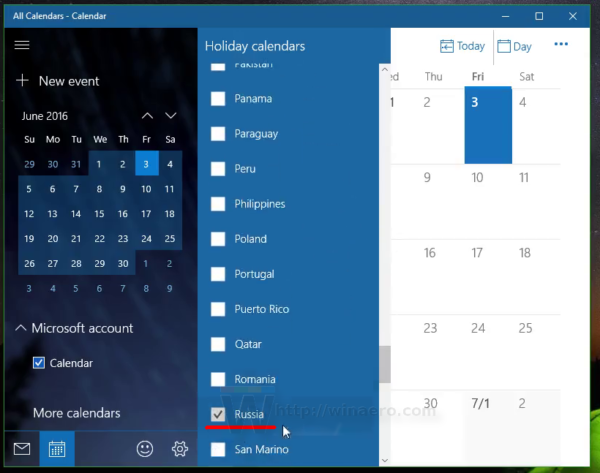Windows 10 select national calendar