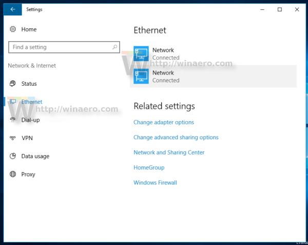 Windows 10 settings ethernet