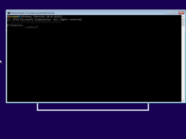 Windows 10 setup cmd opened