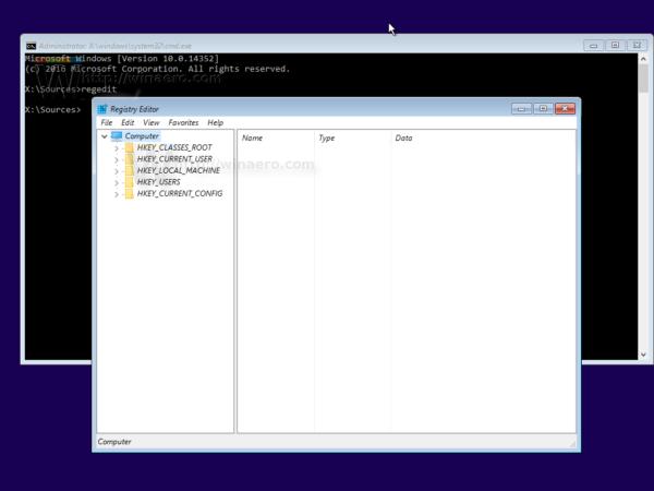Windows 10 setup run regedit