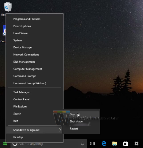 Windows 10 sign out