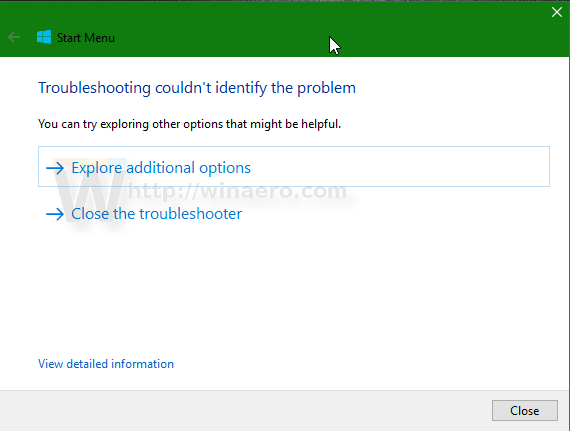Windows 10 start menu troubleshooter finished