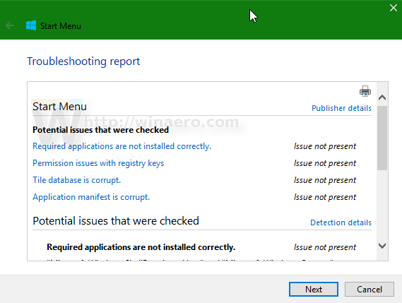 Windows 10 start menu troubleshooter report