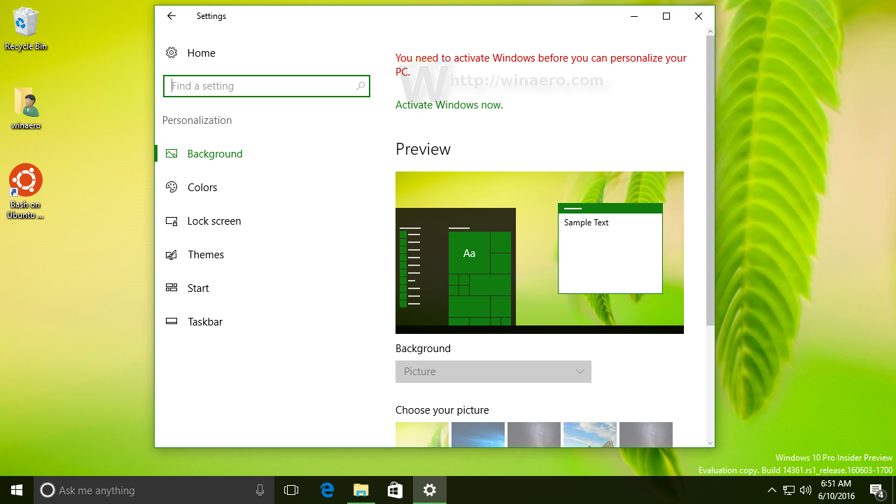 you need to activate windows 10 before you can personalize