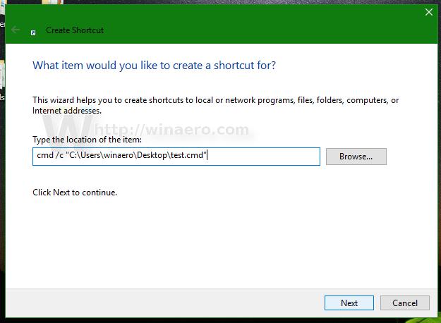 Pin a batch file to the Start menu or taskbar in Windows 10