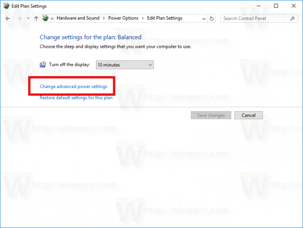 Change advanced power settings link