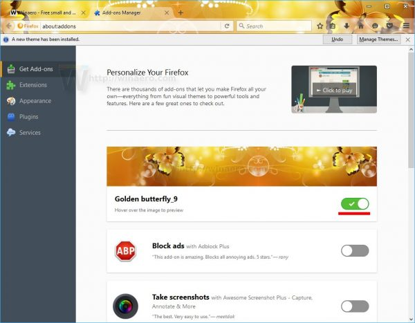 Firefox 48 theme enabled