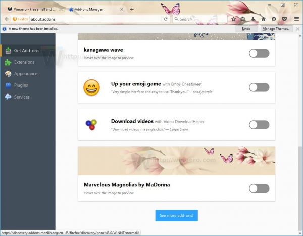 Firefox 48 theme live preview 2