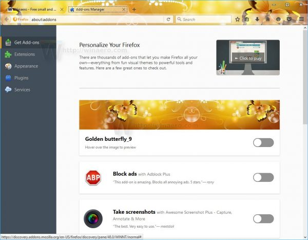 Firefox 48 theme live preview