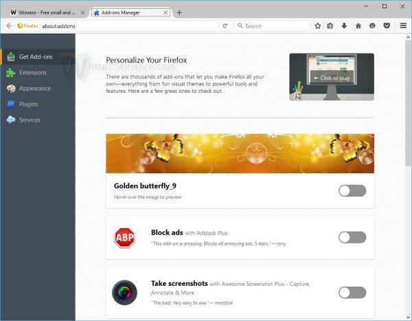 Firefox new get addons