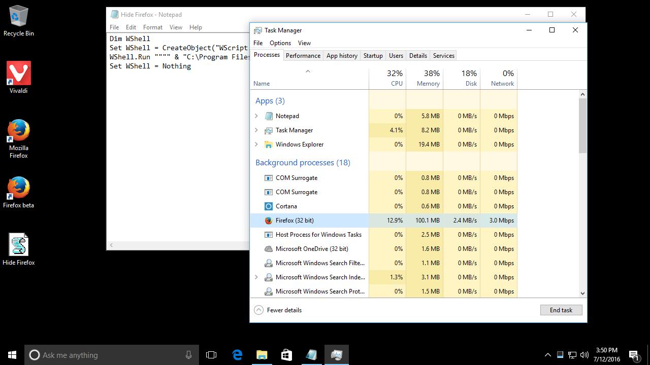 Run a program hidden in Windows 10