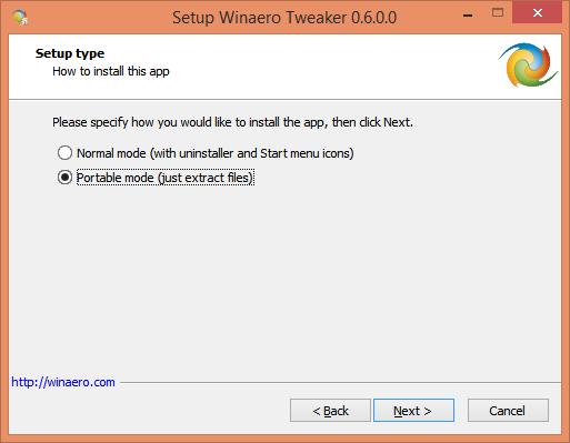 Setup Winaero Tweaker portable 1