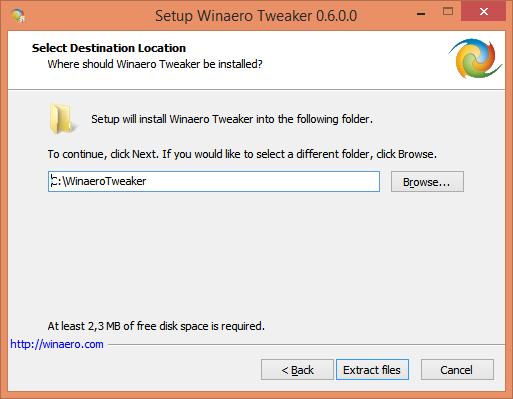 Setup Winaero Tweaker portable 2