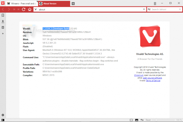 Vivaldi 1.3.534.3 (Developer Build)