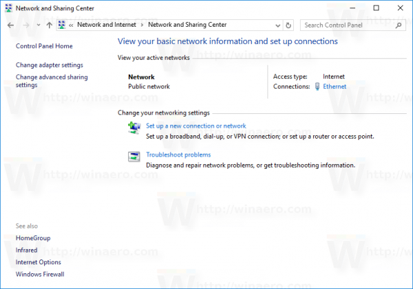 Windows 10 CP nework center