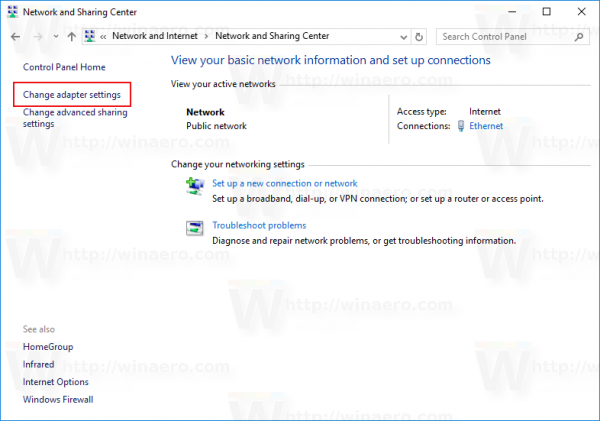 Windows 10 CP nework center change adapter settings link