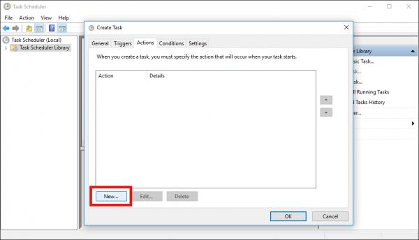 Windows 10 Create Task window Actions tab new button