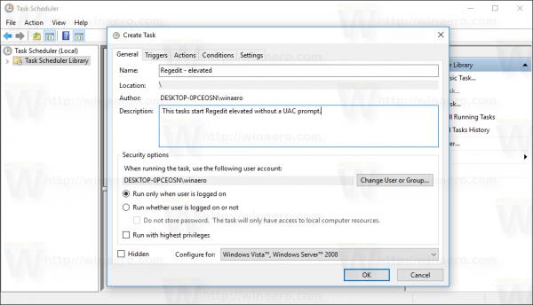 Windows 10 Create Task window name task