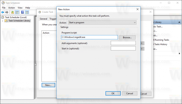 Windows 10 Create Task window new action dialog