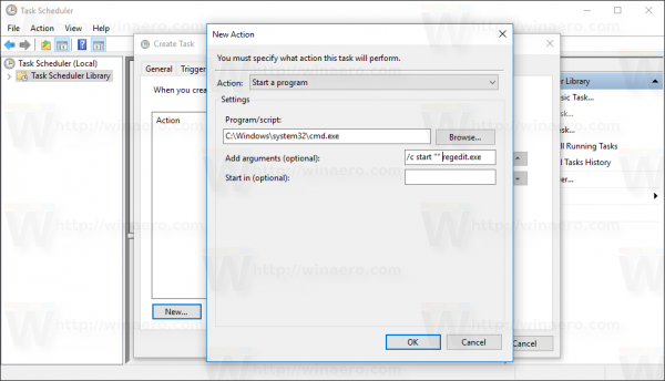 Windows 10 Create Task window new action dialog cmd