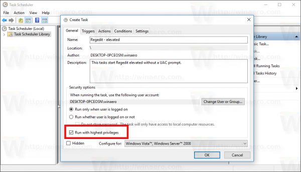 Windows 10 Create Task window run elevated checkbox